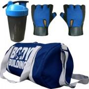 CP Bigbasket Combo Set Polyester 40 Ltrs Blue Sport Gym Duffle Bag Gym Shaker (400 ml) Gym Fitness Gloves (Blue)