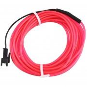 ER Colorido 4m Cable Electroluminiscente Cuerda Flexible Del Tubo De Luz De Neón De Coche 12V DC Parte Bar Decoración -Rosa
