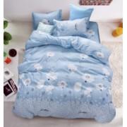Lenjerie de pat set 4 piese Casa de Vis 2 persoane Bleu cu model Bumbac satinat