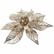 Bellatio flowers & plants 1x Kerstboomversiering bloem op clip gouden kerstster 23 cm