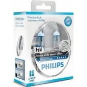 Set 2 becuri Philips H4 12V 60 55W P43t White Vision