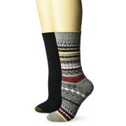 Gold Toe Fairisle Calcetines para mujer (2 pares), Gris, negro (Grey Heather/Black), Shoe Size: 6-9