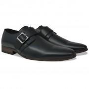 vidaXL Sapatos de homem c/ fivelas tamanho 40 couro PU preto