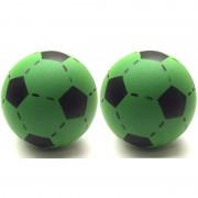Geen 2x Foam soft voetbal groen 20 cm