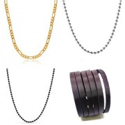Stainless Steel Black Silver Gold Plated With Bracelet Punk Stye Mens/Boys/Gents/Guys Combo of 3 Chains