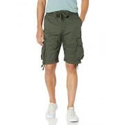 SOUTHPOLE Pantalones Cortos para Hombre con Bolsillos de Carga en Colores sólidos y Camuflaje, Oliva (Olive (New)), XXX-Large