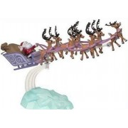 Santas Sleigh & Reindeer Team Pvc Figurine Set Classic Colors 2015 Version
