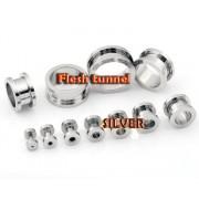 Flesh Tunnel argintiu cu filet, ear expander, pierce ureche