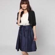 【SALE 58%OFF】ファイン FINE シャンタン生地レースボレロワンピースドレス (ベージュ×ネイビー+ブラック)