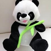 Black & White Panda Bear Big Stuffed Animal Toy Plush Green Leaf by Classic Toy