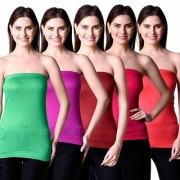 NumBrave Womens Green Purple Maroon Pink Red Tube Top (Combo of 5)