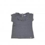 Tricou fete cu dungi si volanase,(culoare alb/bleumarin) Mayoral 6luni