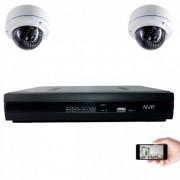 Kit vidéosurveillance IP 2 dômes 1mp 30m
