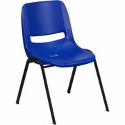 Flash Furniture Plastic Student Stack Chair - Navy w/Black Frame, 15.25Inch W x 19.25Inch D x 24.5Inch H, Model RUT14NVYBK