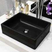 vidaXL Керамична мивка, правоъгълна, черна, 41x30х12 см