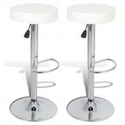 vidaXL Кръгли бар столове от изкуствена кожа, бели - 2 броя