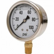 Valley Instrument 2 1/2Inch Stainless Steel Glycerin Gauge - 0-100 PSI