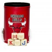 Cubilete Toros De Chicago Con Portadados. 5 Dados Grabados