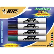 BIC Great Erase Bold Dry Erase Tank Marker, Chisel Tip, Assorted Colors, 4-Count