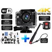 Desconocido Cámara SJ Pro 4K WiFi + Monopod 52CM Deportiva Y Acuática 60FPS HD 16MP Pantalla LCD HD 2