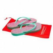 Papuci plastic plaja 3 seturi barete si husa depozitare Suavesoles Verde/Roz pentru femei