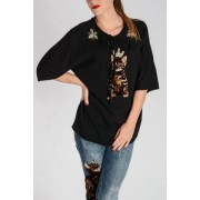 Dolce&Gabbana T-Shirt Con Ricami Preziosi E Gatto Autunno-Inverno Art. 74117