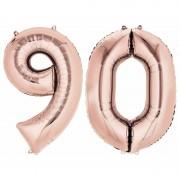 Shoppartners 90 jaar rose gouden folie ballonnen 88 cm leeftijd/cijfer