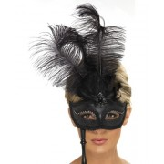 Masca Baroque Neagra Cu Maner