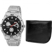 Crude Combo of Black Dial Watch-rg704 With Black Leather Wallet
