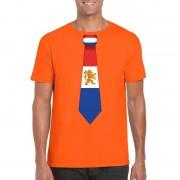 Bellatio Decorations Oranje t-shirt met Nederland vlag stropdas heren