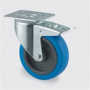 TENTE Transportrad mit blauer lauffläche, 100 mm, drehbar mit bremse