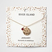 River Island Womens Red gem January birthstone necklace