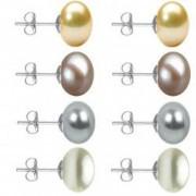 Set Cercei Aur Alb cu Perle Naturale Crem Lavanda Gri si Albe de 10 mm