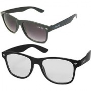 Silver Kartz Combo of 2 Wayfarer Unisex Sunglasses(scm37//Black//Clear)