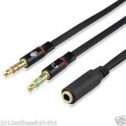 3.5mm Extension Earphone Headphone Audio Splitter Cable Adapter 2 Male to 1 Female