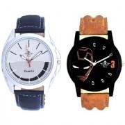 Royal Silver-Black Dial And Iron Man Quartz Combo Analogue Wrist Watch By Google Hub