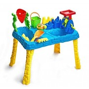 Sandbox 2 In 1 Sand And Water Wheel Table With 9 Beach Sand Toys Set By Bo Toys