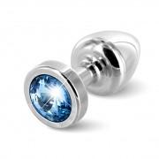 Diogol - Anni Butt Plug Round Silver & Blue 25 mm