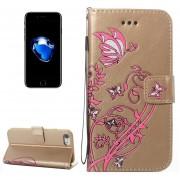 Para IPhone 8 Y 7 Voltaje Caballo Loco Textura Horizontal Flip Funda De Cuero Con Soporte Y Ranuras Para Tarjetas Y Billetera Y Lanyard (oro)