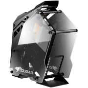 Chassis COUGAR CONQUER Mid-Tower,Aluminum Alloy,Mini ITX/MicroATX/ATX, USB 3.0x2 Mic x1,Audio x1,COUGAR CFD 120mm LED fan x3,Cable Management, 7 Expansion slots,Tempered glass side panel-Both sides,Dimension(WxHxD) 255x580x685 mm