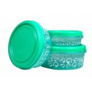 Nucleya Retail Set of 3 Plastics Designer Container Plastic Food Storage Containers Box (Green)