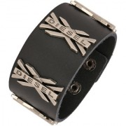 ZIVOM Stylish Funky 100% Genuine Handcrafted Rhodium Black Adjustable Leather Bracelet Boys