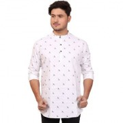 Made In The Shade Men's Casual Short Cotton Kurta (3 Buttonhole Closure White Navy)