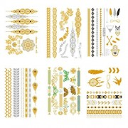 Premium Metallic Tattoos Temporary Flash Jewelry- Feather,Flower, Butterfly, Bracelets, Back Tattoo Sticker, Wrist and Arm Bands 6 Sheets by Blppldyci