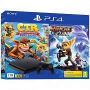 Конзола Sony Playstation 4 Slim 1TB Black + Crash Team Racing PS4 + Ratchet and Clank PS4
