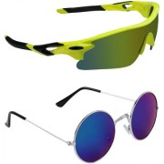 Zyaden Combo of 2 Sunglasses Sport and Round Sunglasses- COMBO 2687