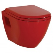 Toiletpot Hangend DC00325 49,5x35,5x33,5cm Wandcloset Keramiek Diepspoel Nano Coating EasyClean Glans Rood met Bidet en Softclose Toiletbril