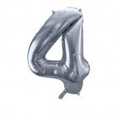 SkyLantern® Original Ballon Chiffre 4 Argent 90 cm