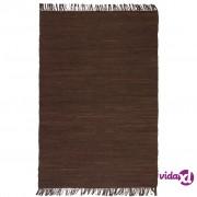 vidaXL Ručno tkani tepih Chindi od pamuka 120 x 170 cm smeđi