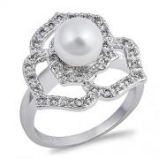 Glitzs Jewels Anillo de plata fina y Circonia Cúbica CZ con perlas Simuladas para mujeres (cz Claro)